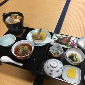 Dinner: the menu this evening included local soba, tempura, and a variety of side dishes.