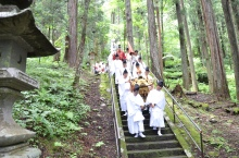 Carrying the portable shrine, dressed in priests' garb.