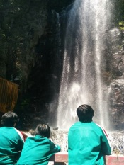 Village kids take in Kiyotaki Falls